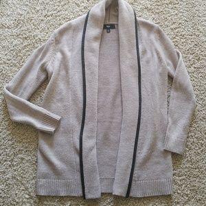 Mossimo black leather trim open cardigan sweater